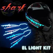 Акула Стиль мотоциклетный шлем светильник светодиодный светильник ночного сигнала полоса светящаяся Ночная светящаяся Модифицированная полоса наклейка на шлем