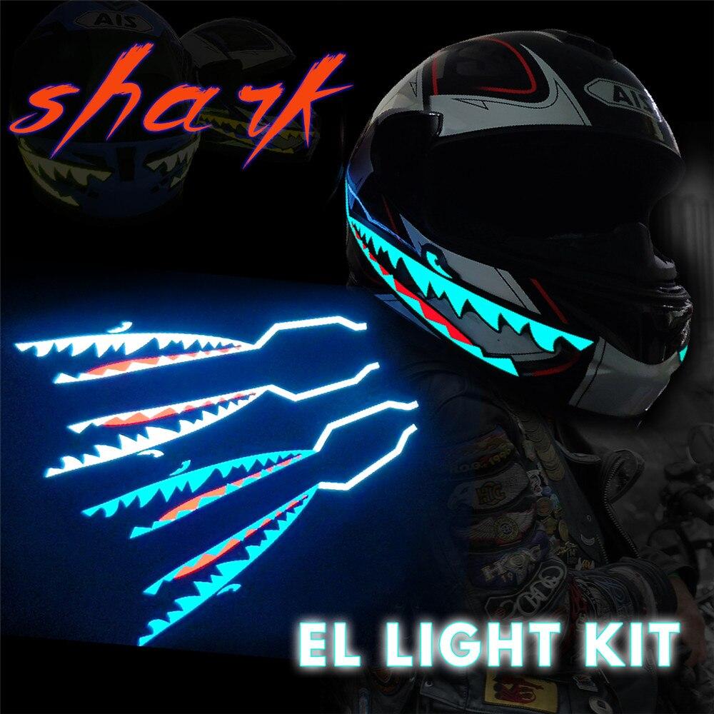 Shark Stil Motorrad Helm Licht Streifen LED Nacht Signal Licht Streifen Glowing Nacht Leuchtende Geändert Streifen Helm Aufkleber