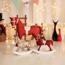 Christmas Wooden Trojan Horse Christmas Decoration For Home New Year Gift Office Tabletop Creative Decoration