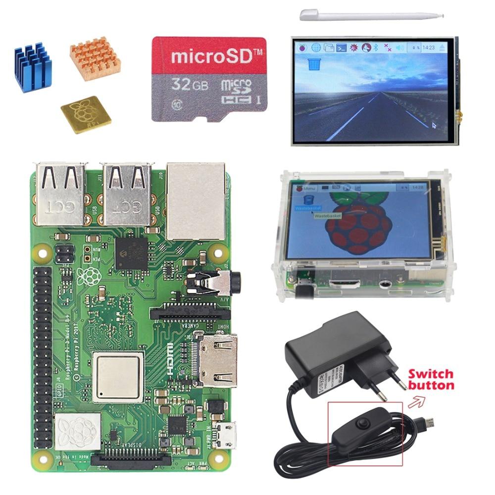 Raspberry Pi 3 Модель B + (B плюс) Starter kit + 3,5 дюймов экран TFT + чехол + 2.5A Питание + 32G SD карты + теплоотвод