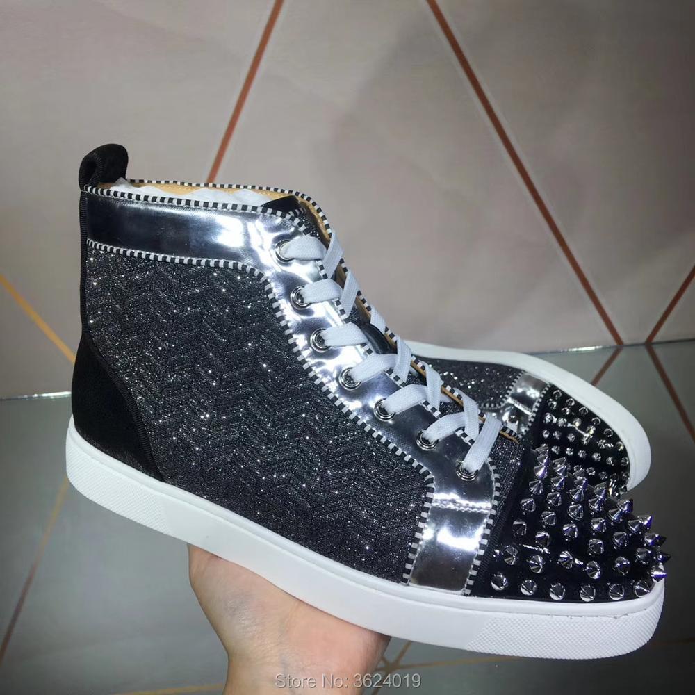 Nieten Schuhe Top Lace Leder Mode Cl Schwarzes Schwarz Sneakers Flache Rote Casual Müßiggänger Für Untere Mann Up Glitter Andgz Luxus High Oqp5nzWn