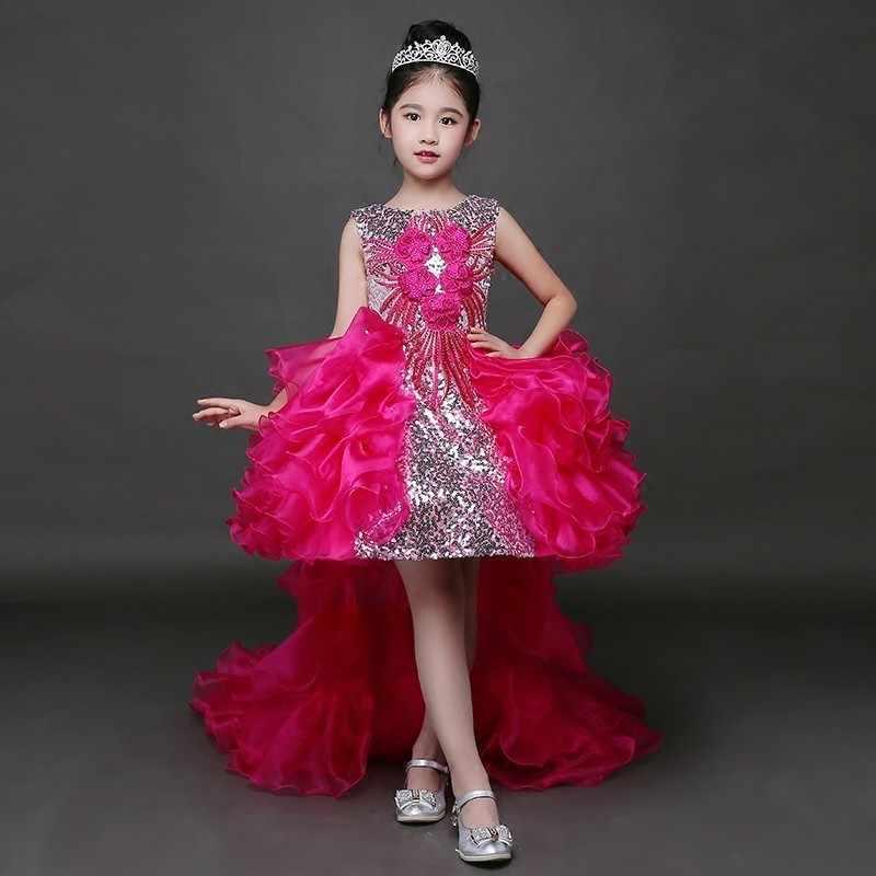 Роскошное Пышное Бальное Платье; платья для девочек с цветочным узором на свадьбу; пышные платья для девочек; Детские платья для первого причастия; 2019