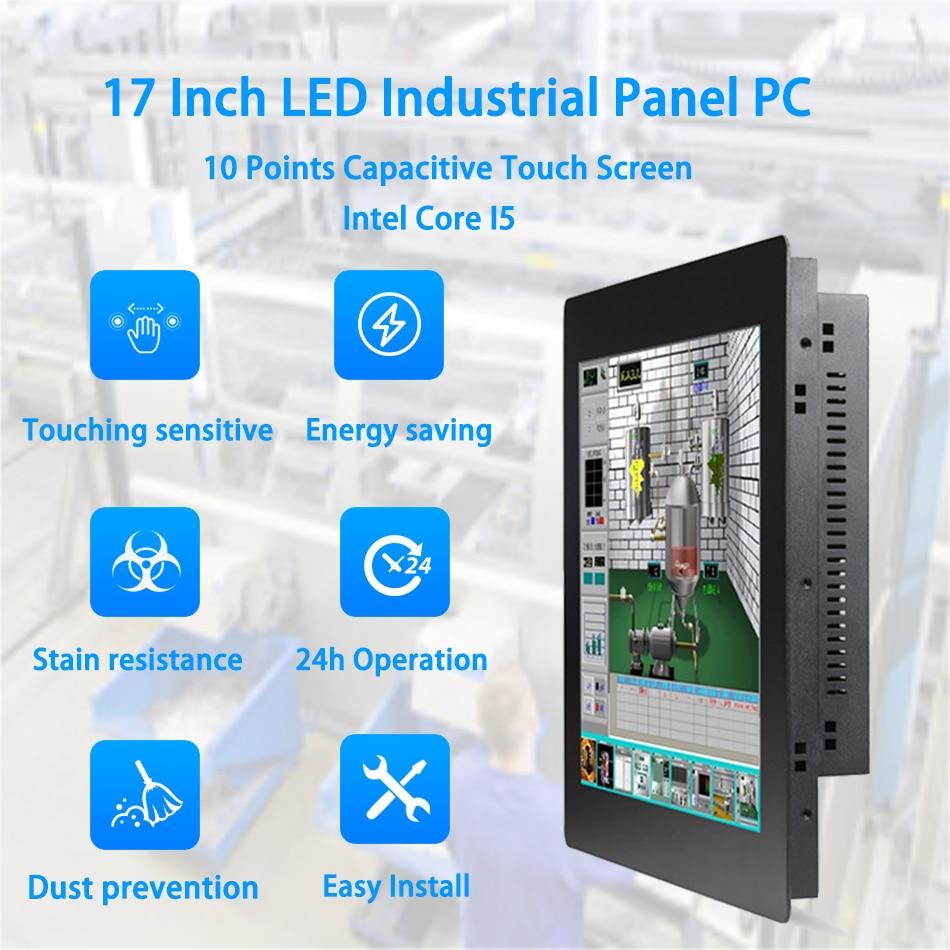17 Zoll Led Panel Pc, Industrie Panel Pc, 10 Punkte Kapazitiven Touchscreen, Intel Core I5, Windows 7/10/linux Ubuntu, [hunsn Wd04]