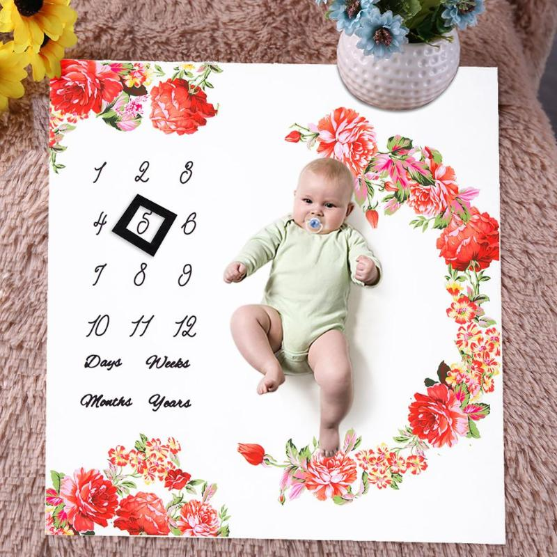 Multifunction Baby Photography Blanket Baby Monthly Milestone Blankets Shower Gifts Cute Floral Print Stroller Wool Blankets