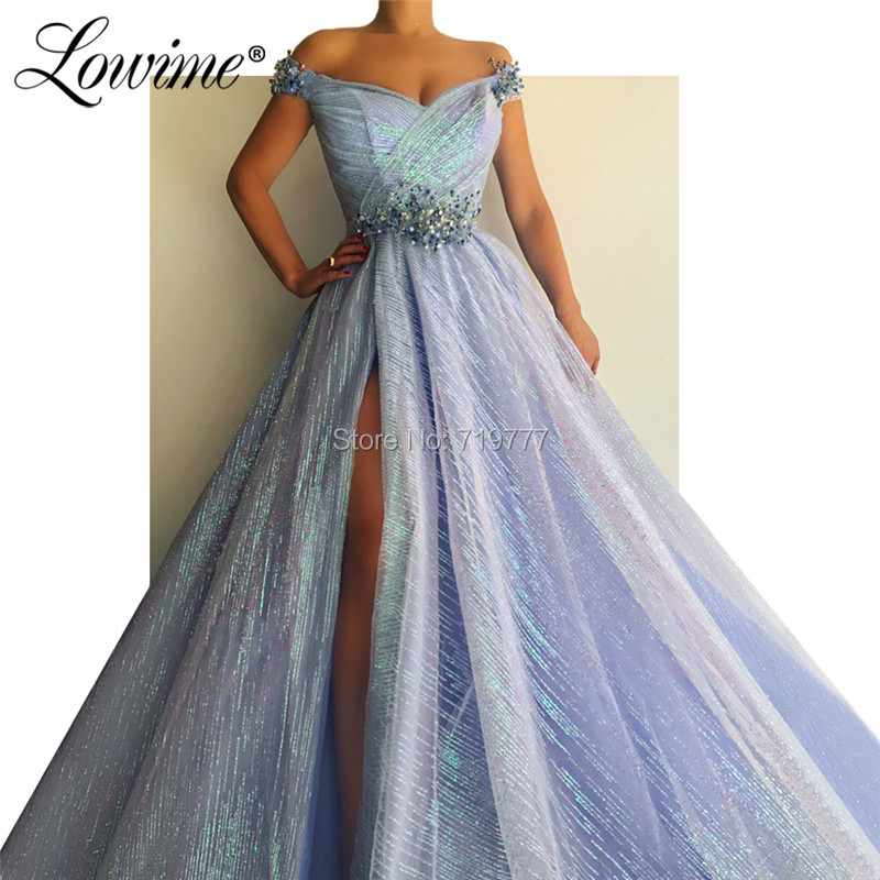 Reflective   Dress   2019 New Arrival Off The Shoulder Beaded   Prom     Dresses   High Split Side Arabic Party Gowns Kaftans Robe De Soiree