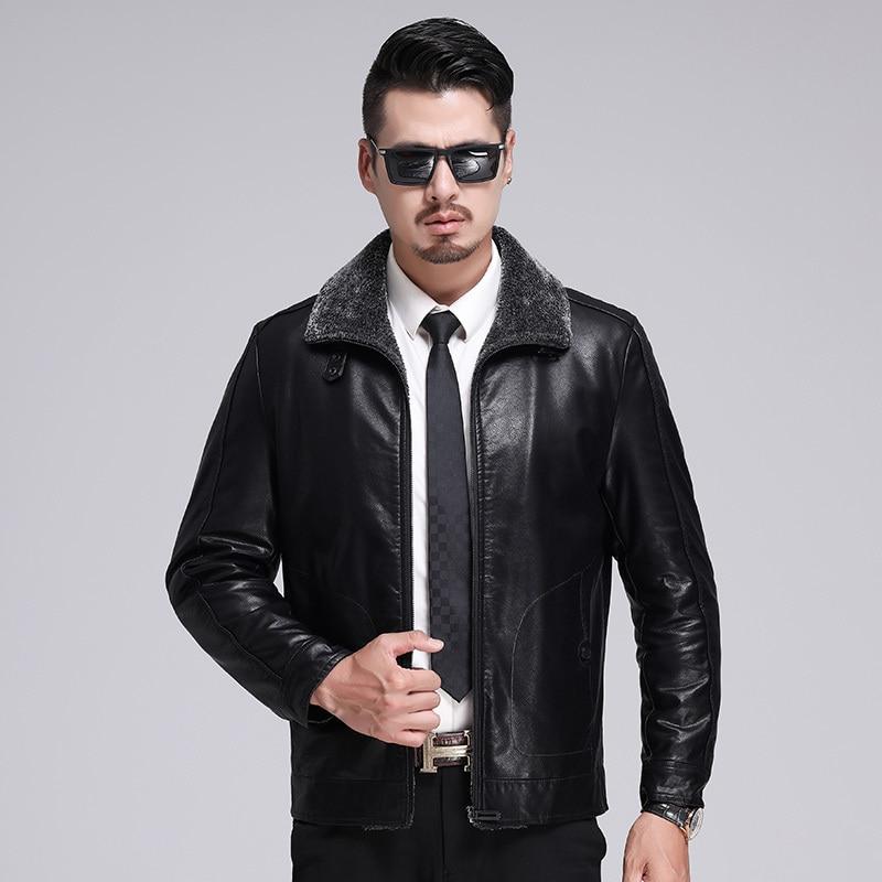 Новые роскошные модные мужские пальто с мехом зимняя мужская одежда кашемир утолщение пальто кожаная куртка теплые Молодежные Бизнес Повс