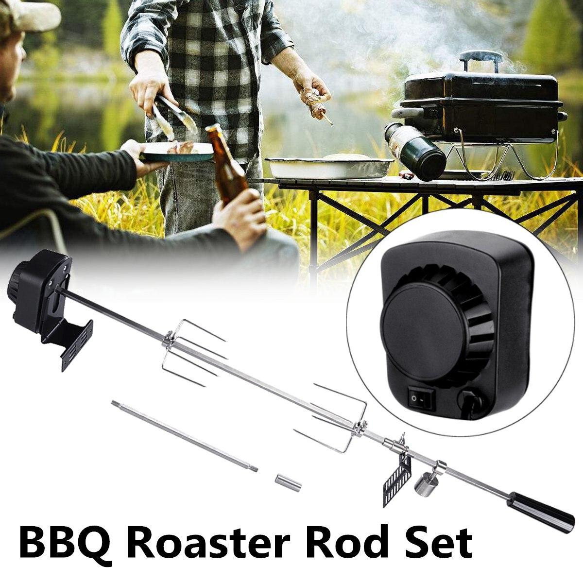 Barbecue électrique automatique 4W | Gril de barbecue en plein air, Rotisserie de Camping, moteur de rôti, branche de rôti, métal, broche de fer, charbon de bois, poulet de porc