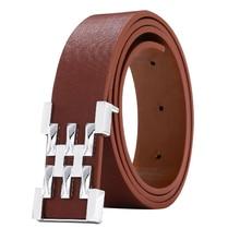 High Quality Men Women Leather Designer Belts Smooth Buckle Belt for Leisure