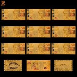 10 шт./лот, сувенир, бразильский цвет, набор золотых банкнот, 50 реалов, Реплика, коллекция денег и художественное украшение для дома, подарки