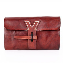 Women Clutch Bags 2019 Retro Genuine Leather Casual Purse Solid Colors Handmade Natural Ladies Wristlet Wallets