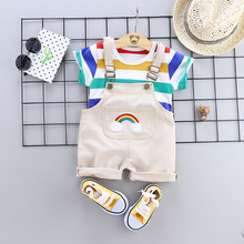 Summer Baby Girls Boy Clothes Toddler Infant Clothing Suit T Shirt Rainbow Shorts 2Pcs/Sets Kids Children Fashion casual Costume free shipping 2017 summer female baby girls shorts sets infant fly sleeve vest 2pcs suit lollipop
