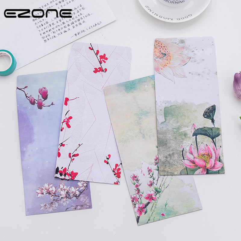 EZONE 3PCS Chinese Style Envelope For Letter Writing Paper Postcard Retro Lotus Peach Blossom Craft Paper Envelope School Supply