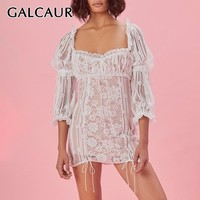 GALCAUR Sexy Lace Patchwork Women Dress Square Collar High Waist Puff Sleeve Hollow Out Bandages Mini Dresses Female 2019 New