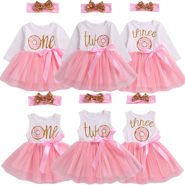1st/2nd/3rd יום הולדת תינוק בנות סופגנייה מנוקדת טול טוטו נסיכת המפלגה שמלת 2 pcs