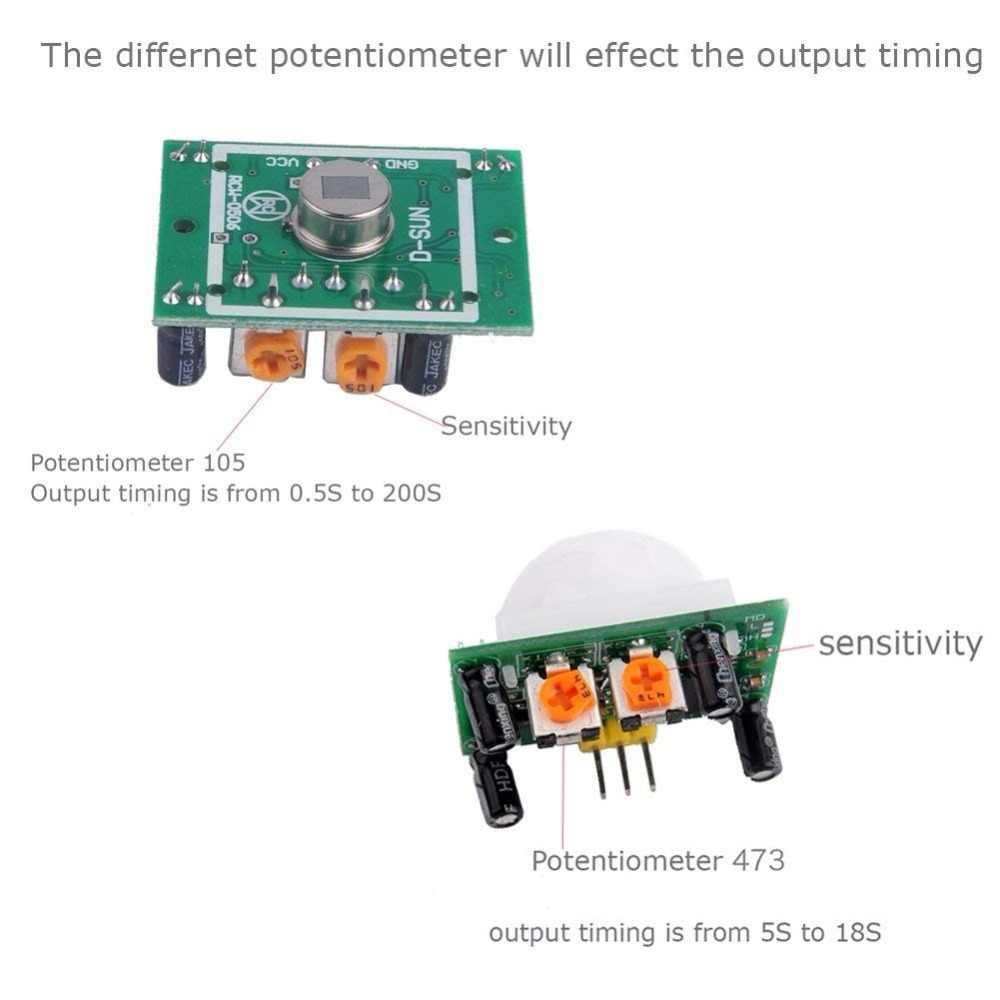 Модуль датчика движения SR501, модуль детектора движения с ИК-регулировкой, пироэлектрический, инфракрасный PIR, для Arduino, Набор для творчества
