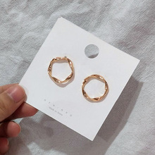 Korea Earrings Geometric Metal Vintage Twisted Irregular Round Polygonal Exaggeration Women Punk Boho