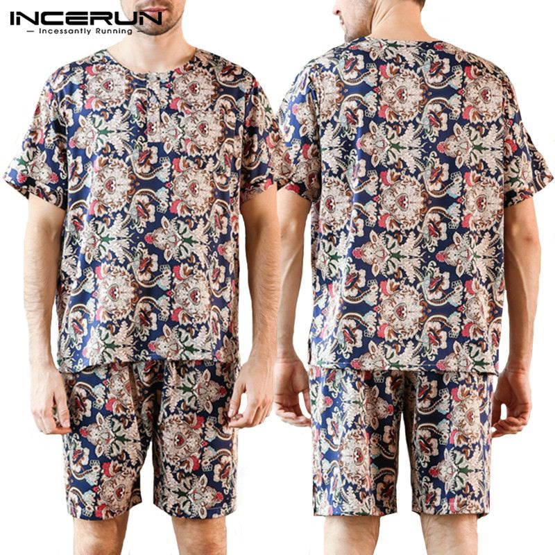 New Design Kimono Bathrobe Vacation 2019 Summer Male Robe Sleepwear Clothes 2019 Bath Sets Harujuku Floral Robe Lounge Pajamas