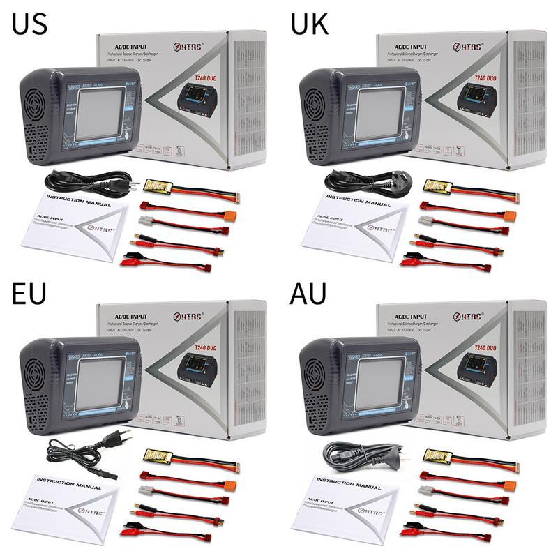 Nouveau chargeur RC Lipo HTRC T240 DUO AC 150 W/DC 240 W écran tactile double Balance chargeur pour LiPo LiHV Lilon NiCd NiMh Pb batterie