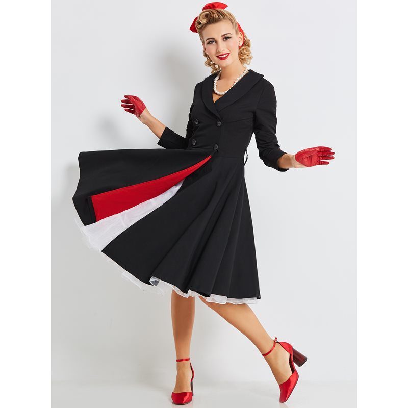 Women Vintage Office Dress Elegant Solid Black Simple Work Wear Stylish Pleated Ladies Autumn Winter A Line 1950s Retro Dresses