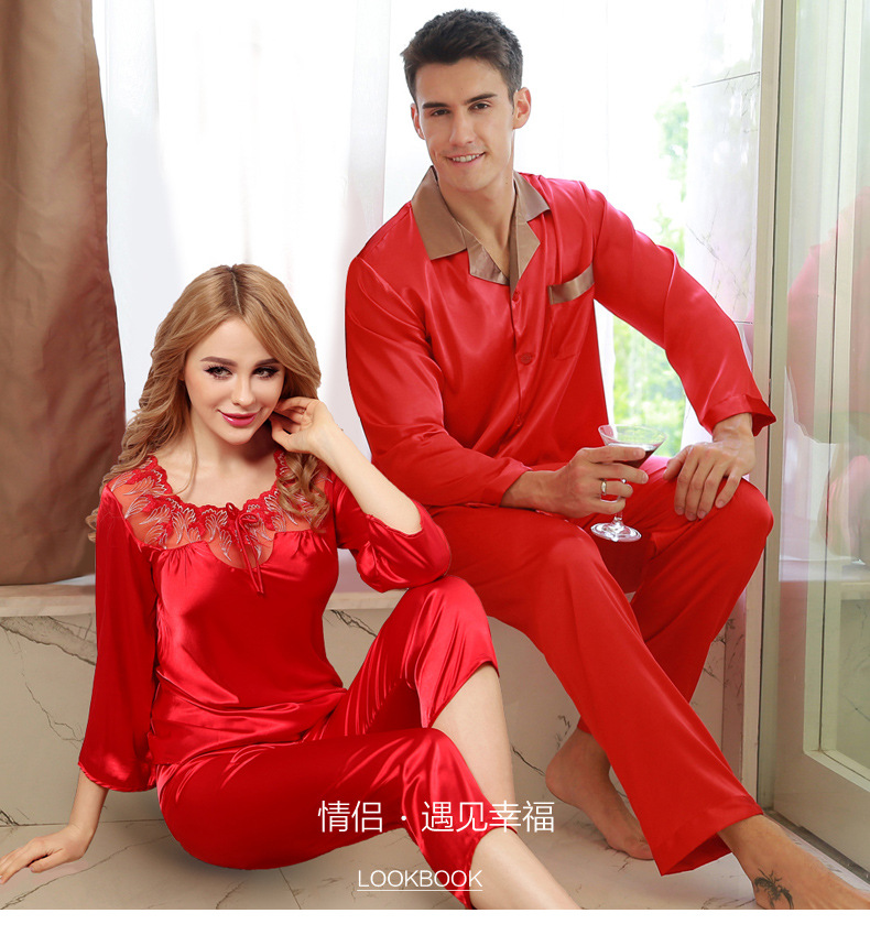 2019 New Summer Lovers Pajamas Red Mens Silk Sleepwear Sexy Silk Pyjama Set Boutique Silk Scarlet Wedding Sleep Clothes