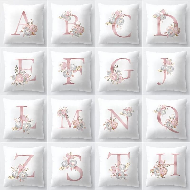 Image 2 - Rose Gold Pink English Letter Cushion Cover Valentine's Day Gifts Kissen Decorative Throw Pillowcase for Couch Car Sofa Home-in Cushion Cover from Home & Garden