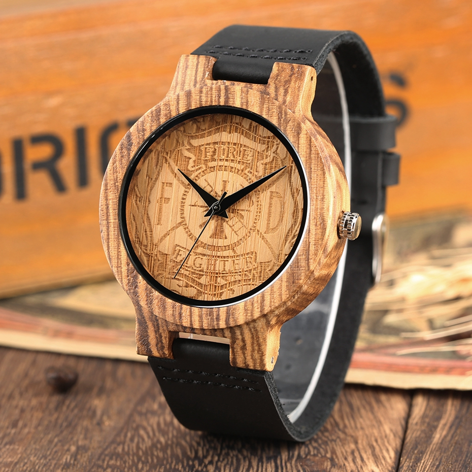 Handicrafts Engraving Fire Fighter Dial Wood Watch Men's Sports Black Genuine Leather Band Hour Clock Gifts for Firefighter Man