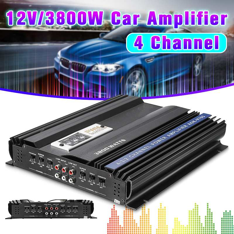 3800W RMS 4 Channel 12V 4ohm Truck Car Audio Power Stereo Amplifier Amp Speaker Metal Car Amplifier Car Subwoofer3800W RMS 4 Channel 12V 4ohm Truck Car Audio Power Stereo Amplifier Amp Speaker Metal Car Amplifier Car Subwoofer