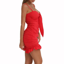 Ruffled Summer Dress Women's Halter 2019 Europe And The New Sexy Nightclub Sling Strapless Short Mini Dress