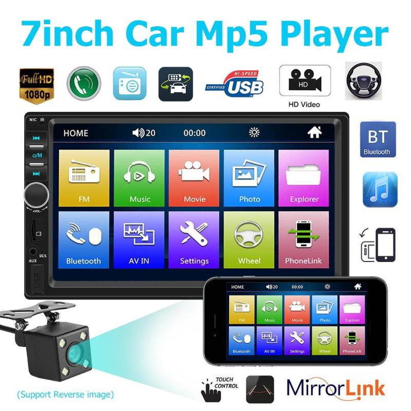 7018B 2 din Car Radio 7 Inch Dash Auto Audio MP3 MP5 Player Bluetooth 1080P Car Rear View for iPhone Android Interconnection