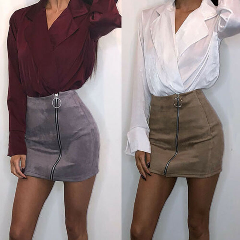 Women Ladies Sexy High Waist Skirts Zip Up Suede Leather Pocket Short Mini Jupe Femme Summer Pencil Solid Skirt