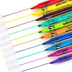 10 kolorów okrągła i spiczasta podwójna głowica do rysowania artystycznego Marker wielofunkcyjny uczeń komiks Graffiti pędzelek do zdobień szkolne artykuły artystyczne