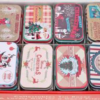 24pcs Christmas Mini Candy Tin Box Rectangle Coin Storage Gift Packing Case Sealed Jar Packing Boxes Jewelry Headphones Gift Box