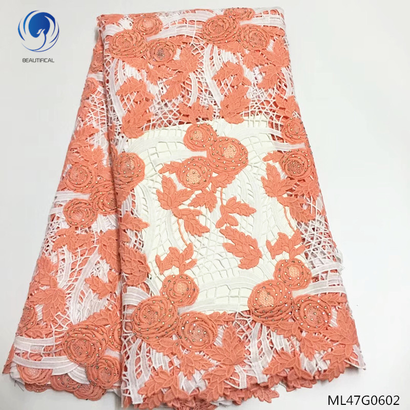 BEAUTIFICAL guipure lace nigeria african lace fabric 2019 high quality lace cord lace fabric fashion flower with stones ML47G06BEAUTIFICAL guipure lace nigeria african lace fabric 2019 high quality lace cord lace fabric fashion flower with stones ML47G06