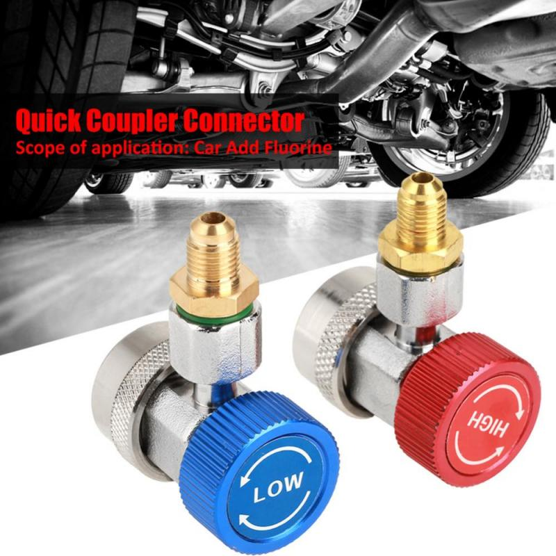 2pcs Auto Freon R134A AC Air Condition Adjustable Quick Coupler Refrigerant  High Low Adapter Connector Manifold Gauge Auto Car