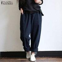 ZANZEA 5XL осенние полосатые брюки женские повседневные мешковатые брюки, Длинные панталоны, женские шаровары с эластичной резинкой на талии, б...