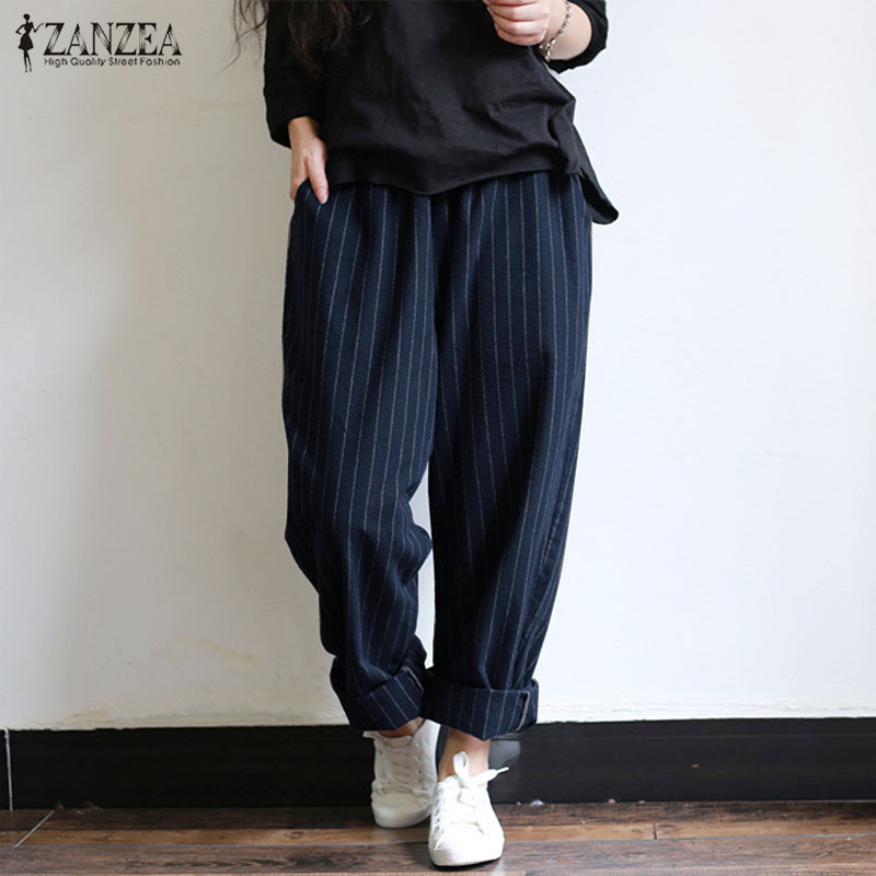 ZANZEA 5XL Autumn Striped <font><b>Pants</b></font> <font><b>Women</b></font> Casual <font><b>Baggy</b></font> <font><b>Pant</b></font> Turnip Long Pantalon Palazzo Lady Elastic Waist Harem <font><b>Pants</b></font> Plus Size image