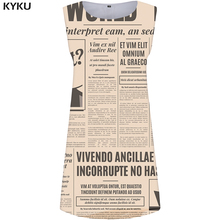 KYKU Brand Newspaper Dress Women Character Boho White 3d Print Gothic Party Vintage Short Womens Clothing Casual