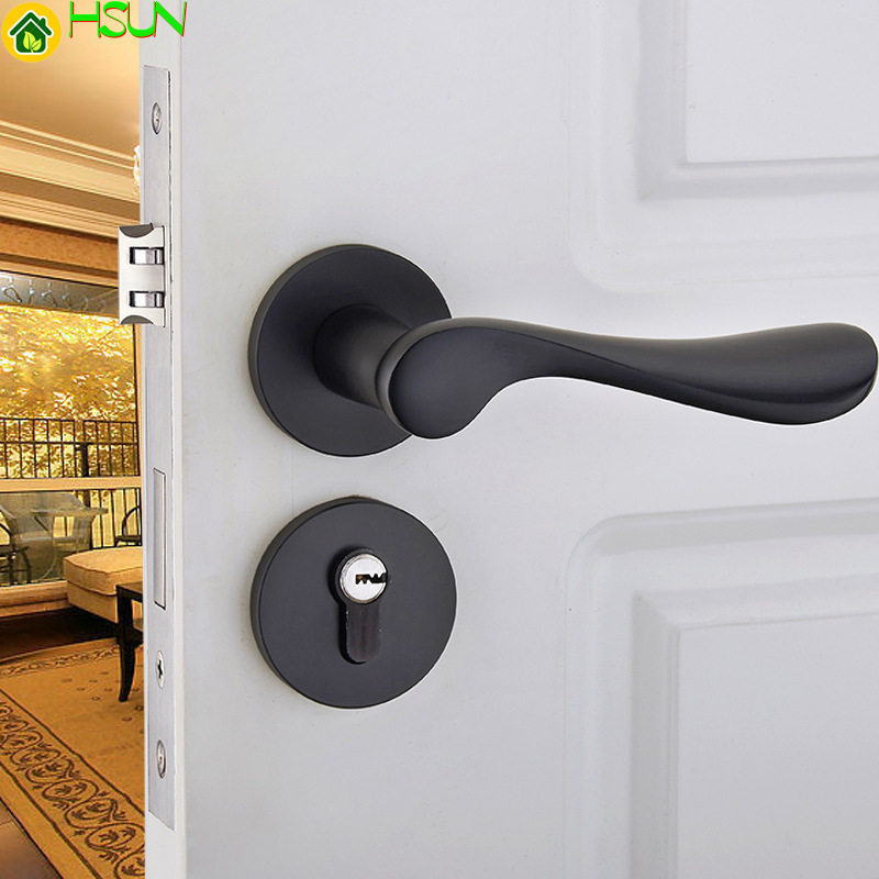 European Black Space Solid Aluminum Door Lock Indoor Bedroom Lock Have Fission Lock Bearing Mechanics Hold Hand LockEuropean Black Space Solid Aluminum Door Lock Indoor Bedroom Lock Have Fission Lock Bearing Mechanics Hold Hand Lock