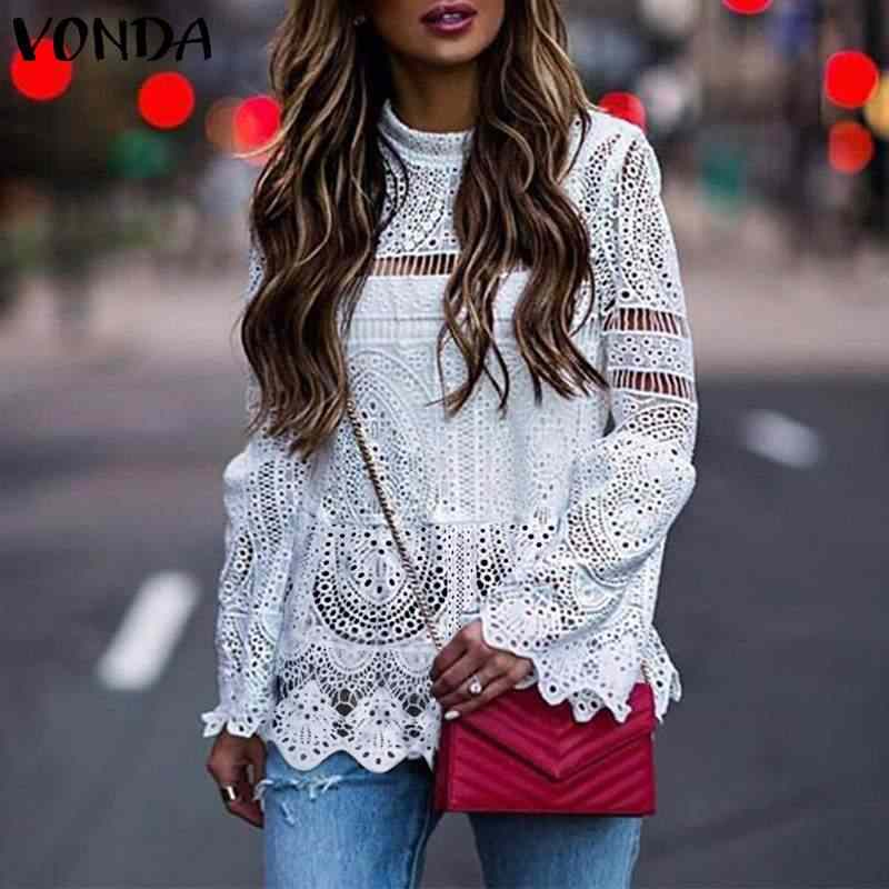 VONDA Women Sexy Hollow Out White Blouse 2019 Casual Long Sleeve Irregular Hem Patry Blusas Beach Tops Ladies Shirt Plus Size