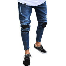 New Fashion Men Jeans Hip Hop Slim Fit Straight Jeans Male Ripped Hole Elasticity Stretchy Zipper Denim Pants for Men
