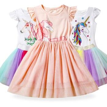 Bonito do bebê menina vestido de princesa meninas dos desenhos animados unicórnio vestido tolldler crianças roupas do bebê batismo aniversário roupas