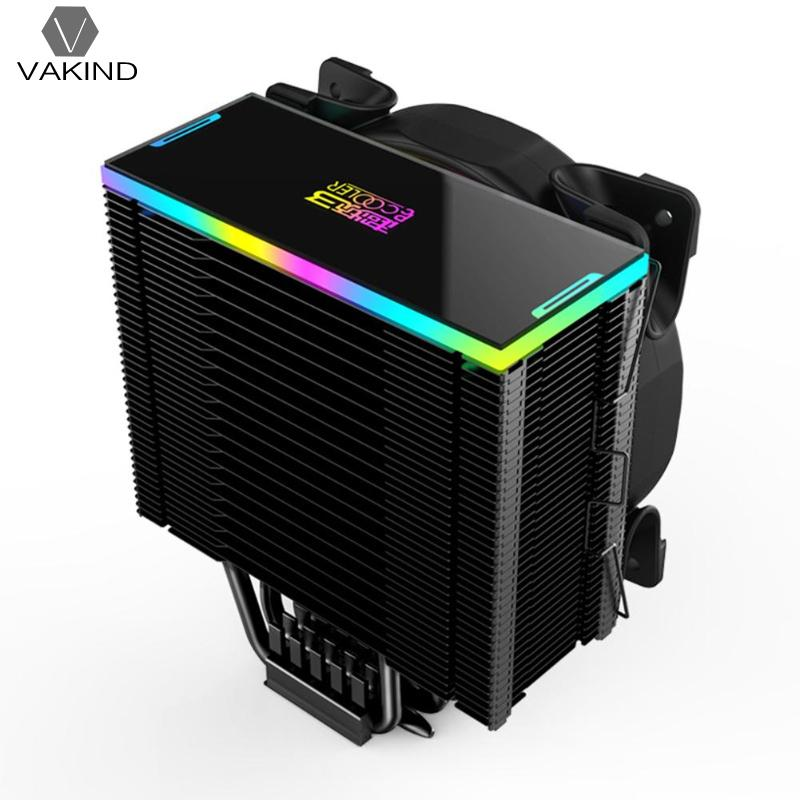 US $48 6 11% OFF|VAKIND 5 Heatpipe CPU Cooler 12cm RGB Fan Radiator CPU  Gaming Cooling Fan with Controller for Desktop PC Cool System-in Fans &