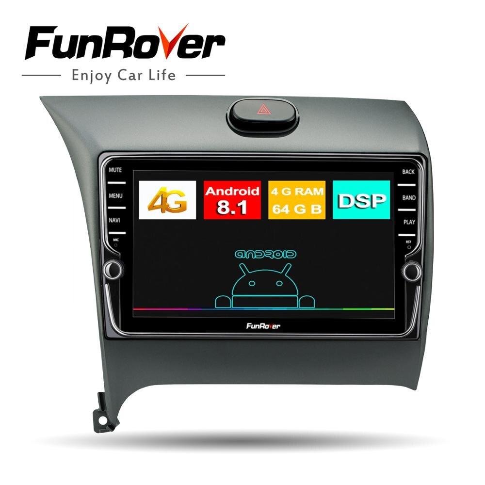 Funrover Octa 8 Core радио автомобиль мультимедиа Android8.1 для Kia K3 Cerato Forte 2012 2016 gps навигации Bluetooth 4 тмси No dvd
