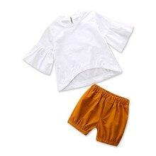 VTOM Baby Kids Girls Sets Summer Fashion Clothes Half  White Top +Short Pants Children Clothing