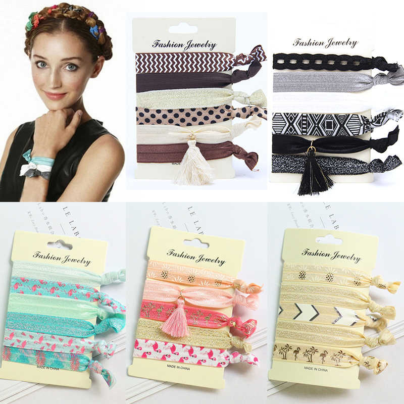 Animal Scrunchie Rubber Bands Hair Ring Adjustable Hair Rope 31 Colors 4PCS/5PCS/6PCS Elastic Ponytail Holder Flower Knot Print