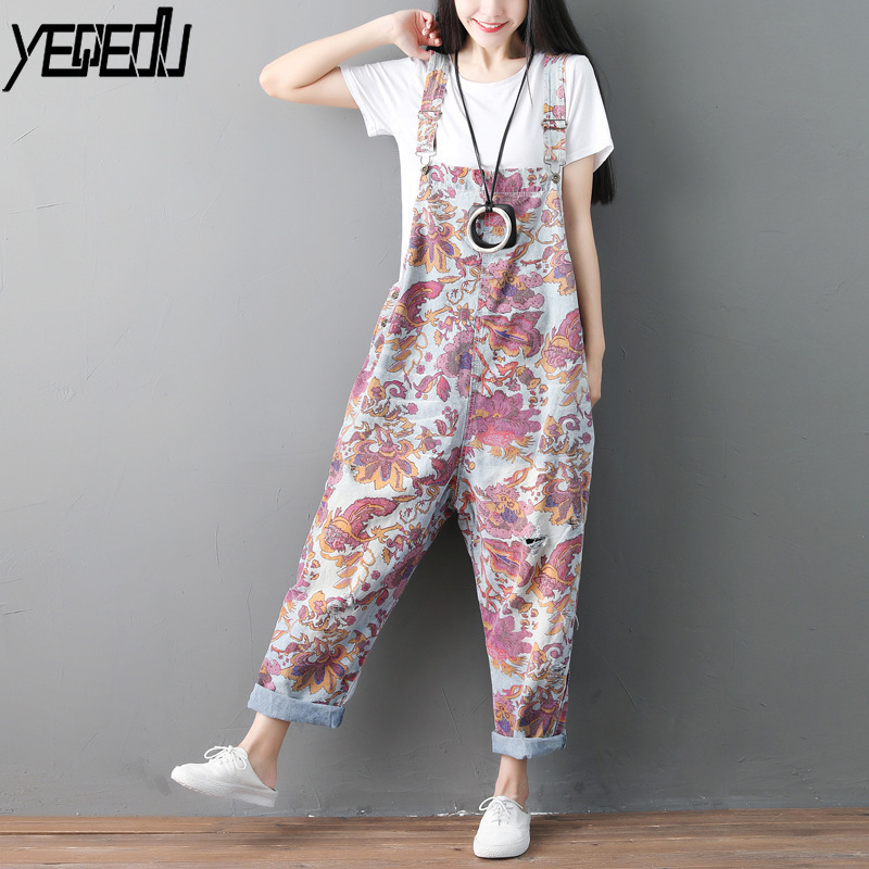 #0324 Jumpsuits For Women Vintage Adjust Strap Overall For Women Wide Leg Washed Rompers Womens Jumpsuit Loose Tie Dye