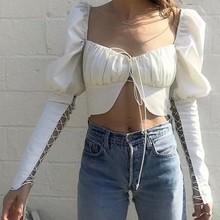 Blusa de manga larga con cuello cuadrado para primavera y verano, camisa Sexy con cuello cuadrado para mujer, 2020
