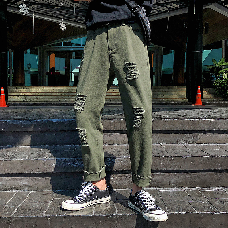 2019 Men 39 s Holes Cowboy Casual Pants Stretch Slim Fit Cargo Pocket Jeans men Black green white Biker Denim Trousers Size M 5XL in Jeans from Men 39 s Clothing