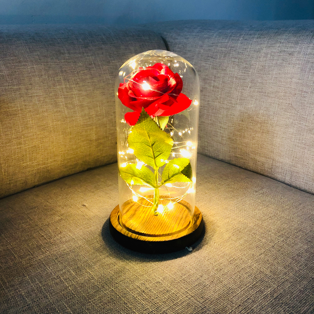 Red Rose Flower-String Wood-Base Wedding-Decor Gift Artificial-Rose LED Glass with Romantic