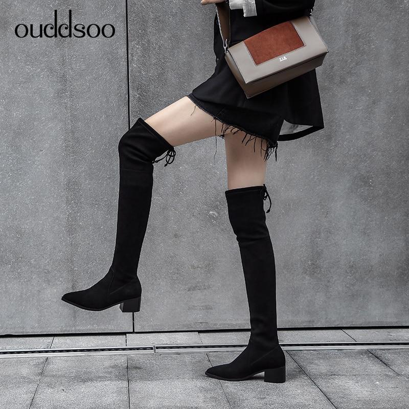Botas Mujer De Encima Muslo Negro Suede Stretch Cowhide Black Cuero Por Top Cuadrados La Leather Zapatos Sexy Tacones black Slim Punta Rodilla wqBdIC